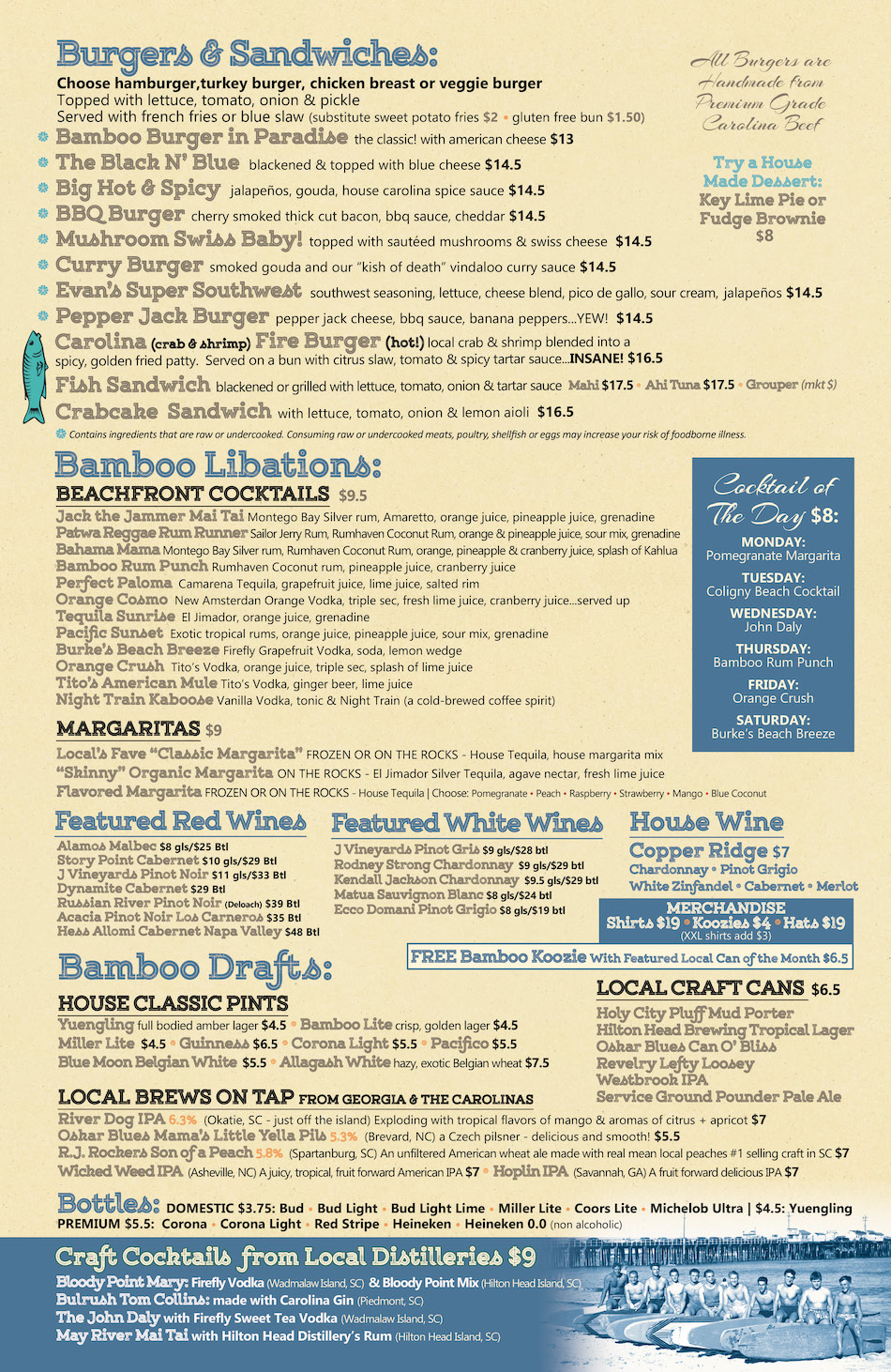 Big Bamboo Cafe HHI Dinner Menu Hilton Head