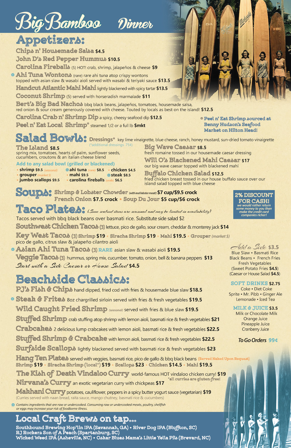Big Bamboo Cafe HHI Dinner Menu front